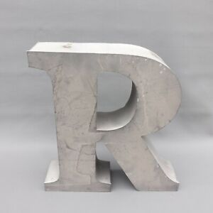 """Vtg. 17"""" Tall """"R"""" Letter industrial Store Salvage Metal Sign Initial Name"""