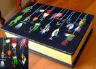 Vintage HAND PAINTED FISHING LURES MOITF WOOD BOX_DESK TOP_EXPERTLY CRAFTED_1950