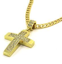 "Mens 14k Gold Filled Fully Cz Cross Pendant Hip-Hop 24"" Cuban Necklace Chain 03"