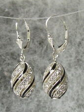 Egg Pendant Black Swirl Design Earrings, Sterling Silver w/ Swarovski Crystals