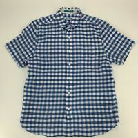 Tommy Bahama Mens Short Sleeve Shirt Size Medium M blue PLaid Button Down Casual