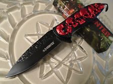 """Z-Hunter Red Skull Pile Hook Assisted Open Tactical Pocket Knife 8 1/4"""" Op 055RD"""