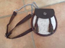 Small Leather Sporran Made in Scotland On Chain+ Leather Belt Suitable For Child
