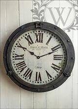 Reloj De Pared De Hierro Redondo Francés Vintage Industrial Rústico Número Romano Metal Grande