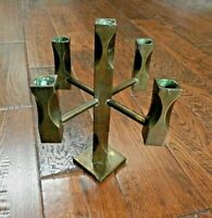 1982 Vintage Modern Vallonmassing Solid Brass 5 Candle Holder Candelabra Sweden