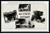 DECANTER ALABAMA ALL-STATE COTTAGES 4 VIEW POSTCARD GAS STATION, OIL CANS