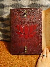 "Poetic Earth ""Lotus"" Buddha Leather Large Handmade Journal 10"" Brass Latches New"