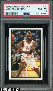 1992-93 Panini Sticker #12 Michael Jordan Chicago Bulls HOF PSA 8 NM-MT