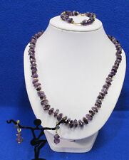 Screw Back Earrings Gold Tone Beads Polished Amethyst Stone Necklace Bracelet &