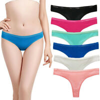 3 6 12 Pcs Lot Women's Cotton Thongs Underwear Lace Trim V-back  Panties,XS S M