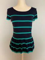 Ann Taylor Loft Womens Knit Top Size S Navy Blue Striped Scoop Neck Ruffle Hem