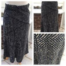 Per Una Womens Godet Maxi Gypsy skirt size 10 Grey Black Velour g27