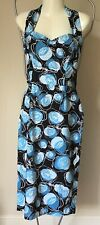 Vivien Of Holloway Retro 1950s Halter Neck Waisted Dress Blue Floral