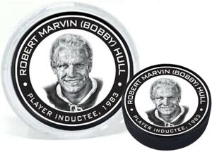 Bobby Hull Chicago Blackhawks 1983 Hall of Fame 3D Textured Puck in Display Tube