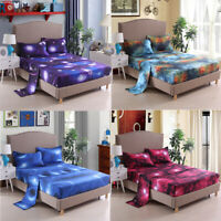 Galaxy Flat Sheet Fitted Sheet Set + Pillowcase Bedding Queen King Cal King Size