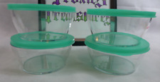 Tupperware Clearly Elegant Acrylic Small Bowls Set 4 Laguna Green Seals 1.25 Cup
