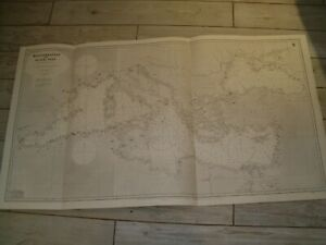 Vintage Admiralty Chart 449 MEDITERRANEAN & BLACK SEAS 1921 edn