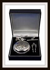 Bene peltro Meccanico Scheletro Fob Orologio da taschino ~ Nodo Celtico Design Quad