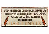 Mein geliebtes Flaschenbier Bier 28 x 12 cm Trink-Spruch Deko Blechschild 2121