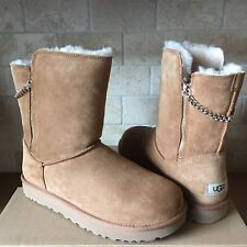 UGG Classic Short Sparkle Zip Chain Chestnut Suede Winter Boots Size 9 Womens