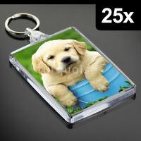 25x Premium Quality Clear Acrylic Blank Keyrings Key Fobs 73 x 51 mm | Jumbo