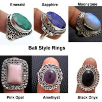 Bali Style Ring Moonstone Emerald Sapphire 925 Sterling Silver Jewelry Size US 7