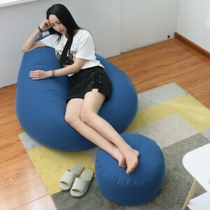 Lazy Sofas Cover Chairs NO Filler Cloth Lounger Seat Bean Bag Pouf Puff Tatami