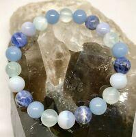 Throat Chakra Power Bead Bracelet Healing Crystal Gemstone Size Choice