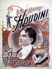 HARRY HOUDINI THE MAGICIAN KING OF CARDS VINTAGE ADVERTISING POSTER PRINT 516PY