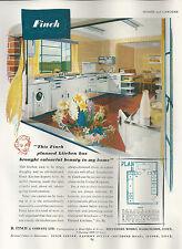 Publicité 1951 Finch design cuisine aménagée plan Ilford Essex