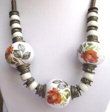 collier bijou vintage cuir bronze perles en porcelaine motif floral de couleur P