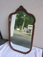 Antique Vtg Solid Cherry Oval Carved 41 X 22 Oval with Decorative Curves Mirror