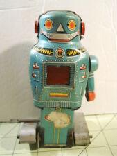 1960's Noguchi Japan Tin Litho Wind Up Walking Sparking Space Mighty Robot Toy