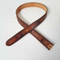 "Brushy Creek Full Spain Cowhide Tanned Stamped Leather Men's Belt 30"" EAGLE MTNS"