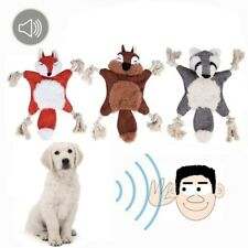 Soft Plush Rope Pet Plush Squeaky Sound Toys Squirrel Grizzly Bear Chew Dog Toy