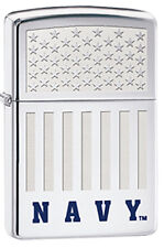 American Flag with Engraved Blue Matte NAVY Logo Polished Chrome Zippo Lighter
