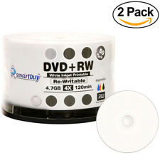 100 Smartbuy DVD+RW 4x 4.7GB White Inkjet Hub Printable Rewritable DVD Disc