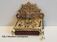 Vintage Toilet Roll Holder Gold Brass Old Novelty Retro Victorian Shabby Chic