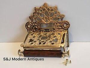 Vintage Toilet Roll Holder Gold Brass Old Novelty Retro Victorian Shabby Chic