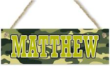 Camouflage Name Sign Personalized Children's Room Door Birthday Wall Decor Art