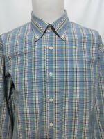 Peter Millar Blue Multi Plaid Mens Long Sleeve Shirt Size XL