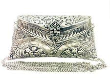 Indian Vintage Brass silver Purse antique Ethnic clutch Handmade Women metal bag