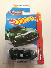 '15 Jaguar F-Type Project 7 #185 * Green * 2015 Hot Wheels * New N Case * j9