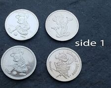 4 Mix Lot Patina Tiny Disney Mickey Mouse 1/20oz .999 Fine Silver Coin/Rounds