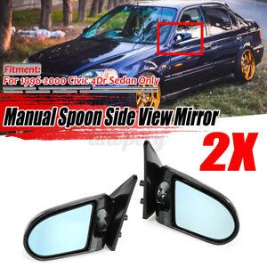 For Honda Civic EK Saloon 1996-2000 Carbon Fiber Look Side Mirrors Manual H//