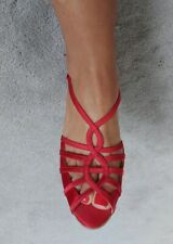 MONSOON ladies shoes size 5 Red Satin mid Heels Strappy open toe party xmas