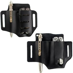 Tactical 2&3 Pockets Leather Tools Sheath Pouch Belt Pouch for Pen Knife Plier