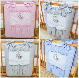 Cot Tidy / Organiser 4 Pockets Match Baby Nursery Cot Cot Bed Bedding - Moon