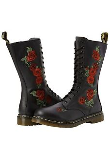 NIB Dr. Doc Martens Vonda Roses Soft Leather Black 14 Eye Size 8 Women's