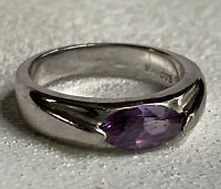 Lia Sophia Freesia Ring Size 6 SilverTone Purple Petite Amethyst Color Signed